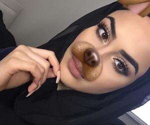 girl, hijab, and snapchat image