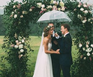 bride and groom, wedding dress, and candid image