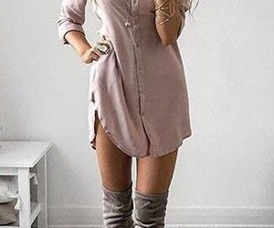 boots, dress, and pink image