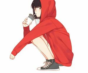 anime, drink, and girl image