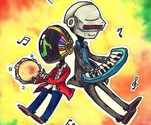 colour, daft punk, and drawing image