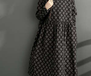 black, loose, and cotton dress image