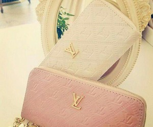 wallet, LV, and white image