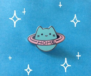 cool, space cat, and pin image