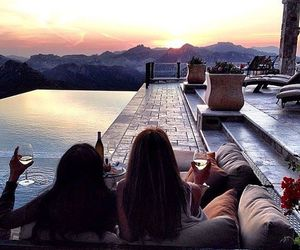 friends, sunset, and luxury image