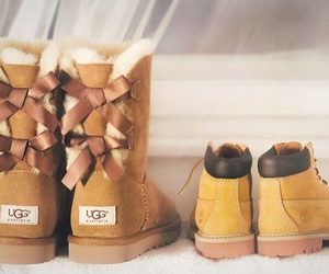 boots, bow, and winter image