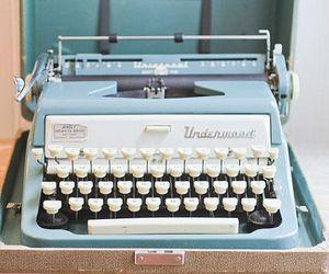 blue, Paper, and typewriter image