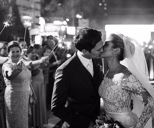 kiss, wedding, and black and white image