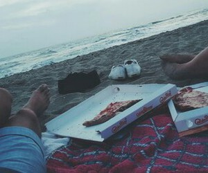 beach, couple, and fast food image