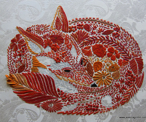 embroidery, fox, and nature image