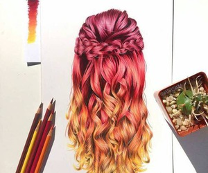 hair, art, and orange image