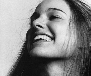 natalie portman, smile, and black and white image