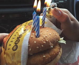 food, hamburger, and birthday image