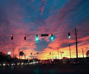 sky, sunset, and city image