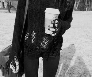 black and white, coffee, and skinny image