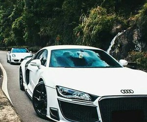 audi, white, and car image
