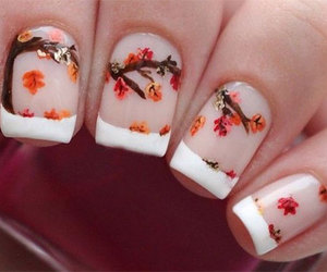 autumn nail art, autumn nails ideas, and autumn leaf nail art image