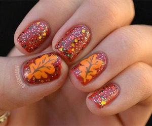 autumn nail art, autumn leaf nail art, and autumn nails ideas image