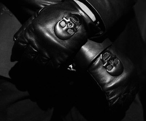 black and white, gloves, and skull image