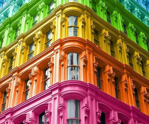building, colors, and rainbow image