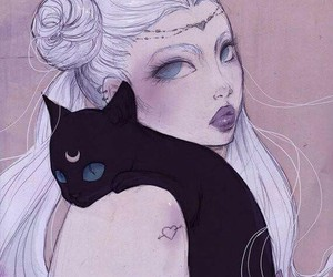 cat, girl, and moon image