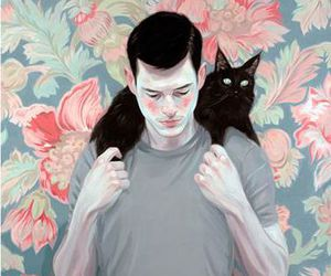 boy, art, and cat image