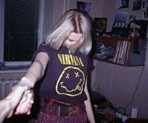nirvana, grunge, and girl image