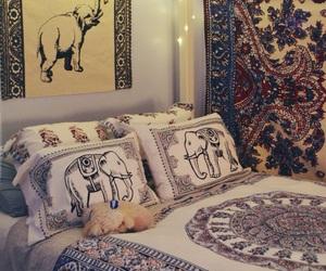 bedroom, boho, and elephant image