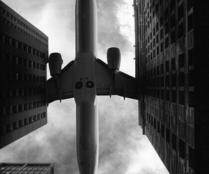 airplane, plane, and city image
