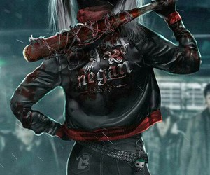 harley quinn, negan, and suicide squad image