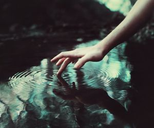 water, hand, and dark image