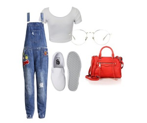 outfit, overalls, and vans image