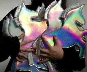 unicorn, grunge, and holographic image