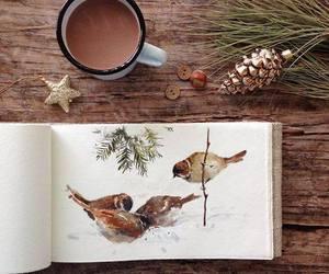 art, birds, and christmas image