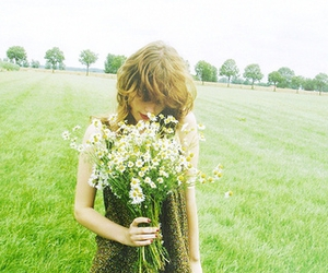 flowers, girl, and meadow image