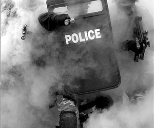 police, black and white, and gun image