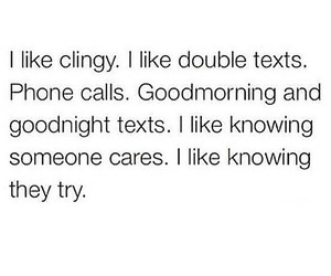 love, quote, and clingy image