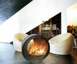 fireplace, home, and modern image
