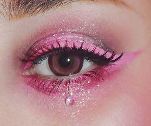pink, makeup, and eyes image