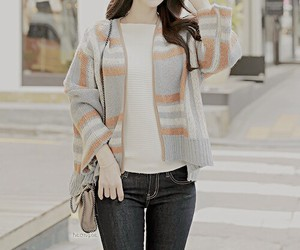 asian fashion, cardigan, and clothes image