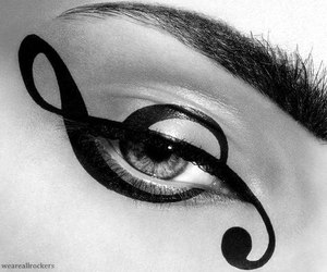 music, eye, and makeup image