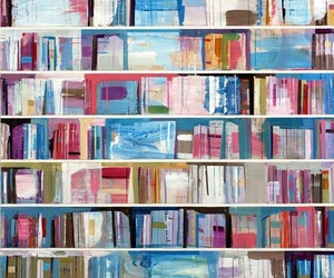 books, art, and bookshelf image
