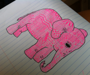 elephant, pink, and drawing image