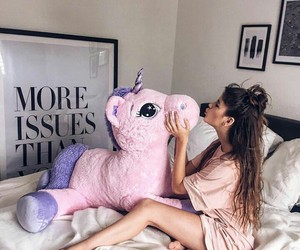 unicorn, girl, and pink image
