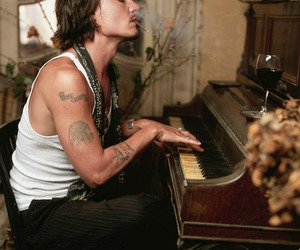 johnny depp, piano, and sexy image