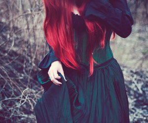 girl, red hair, and gothic image