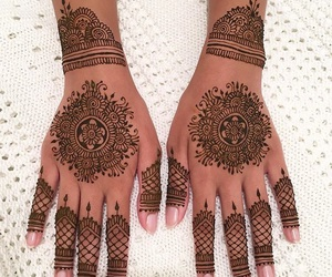 fashion, woman girl, and henna mehndi tattoo image
