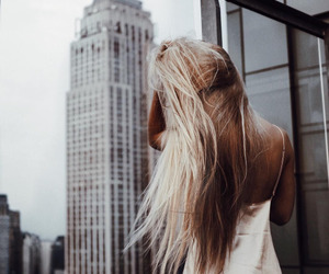 hair, blonde, and chic image