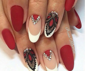 nails, red, and nail art image