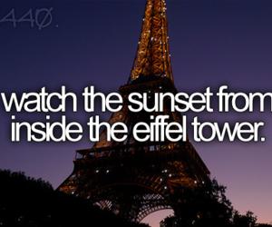 eiffel tower, sunset, and paris image